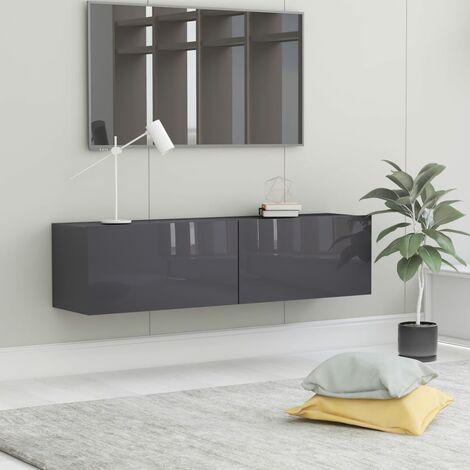 TV Cabinet High Gloss Grey 120x30x30 cm Chipboard