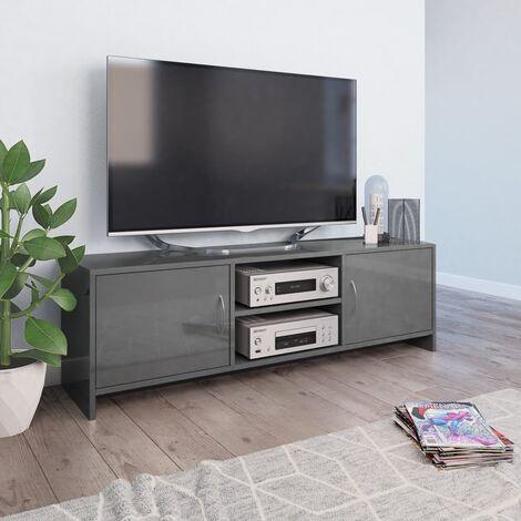 TV Cabinet High Gloss Grey 120x30x37.5 cm Chipboard