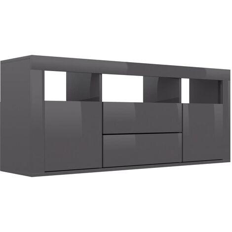 TV Cabinet High Gloss Grey 120x30x50 cm Chipboard