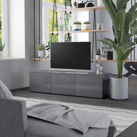 TV Cabinet High Gloss Grey 120x34x30 cm Chipboard
