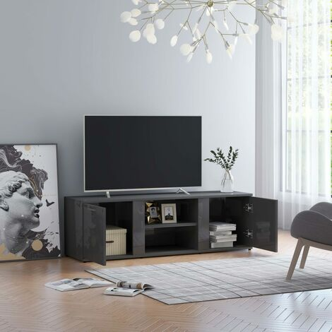 TV Cabinet High Gloss Grey 120x34x37 cm Chipboard