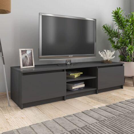 TV Cabinet High Gloss Grey 140x40x35.5 cm Chipboard