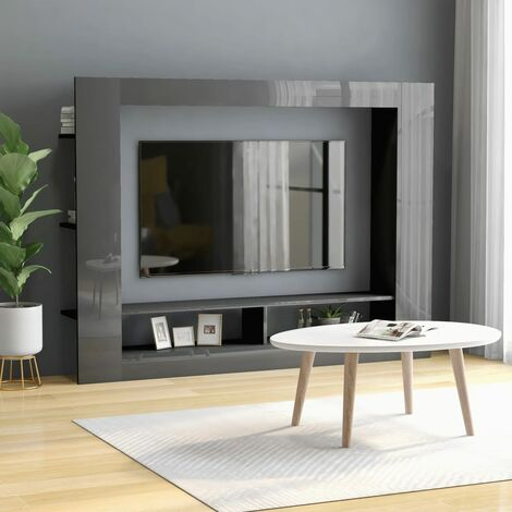 TV Cabinet High Gloss Grey 152x22x113 cm Chipboard