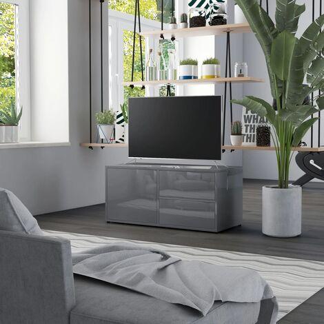 TV Cabinet High Gloss Grey 80x34x36 cm Chipboard