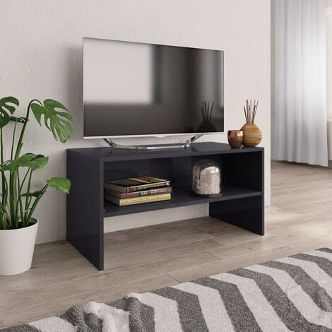 TV Cabinet High Gloss Grey 80x40x40 cm Chipboard