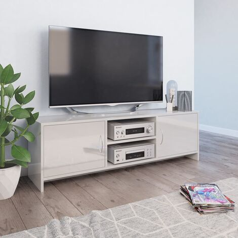 TV Cabinet High Gloss White 120x30x37.5 cm Chipboard