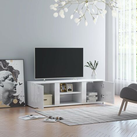TV Cabinet High Gloss White 120x34x37 cm Chipboard