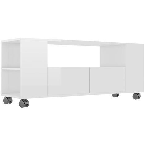 TV Cabinet High Gloss White 120x35x43 cm Chipboard