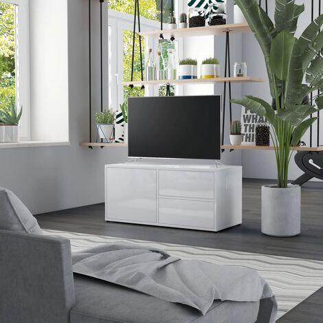 TV Cabinet High Gloss White 80x34x36 cm Chipboard