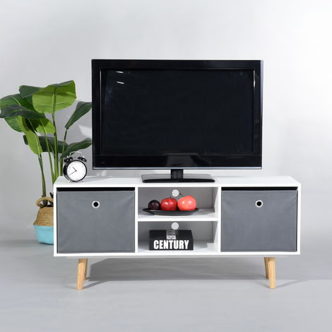 TV cabinet Living room table for TV Television Modern Nordic style, TV cabinet TV cabinet for coffee table with 2 doors 2 compartments for living room desk, solid pine 110 x 29 x 49cm