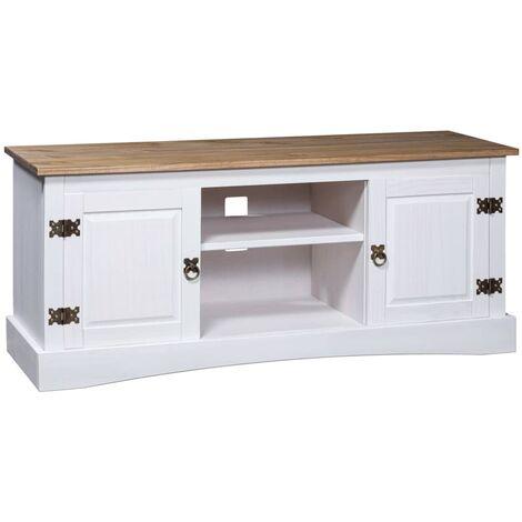TV Cabinet Mexican Pine Corona Range White 120x40x52 cm