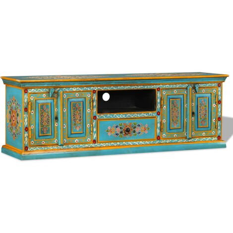 TV Cabinet Solid Mango Wood Blue Hand Painted - Multicolour