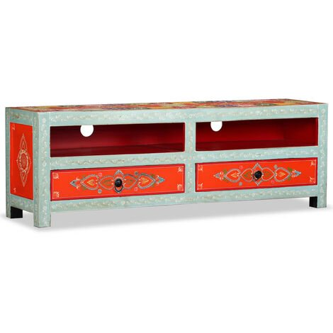 TV Cabinet Solid Mango Wood Hand Painted - Multicolour
