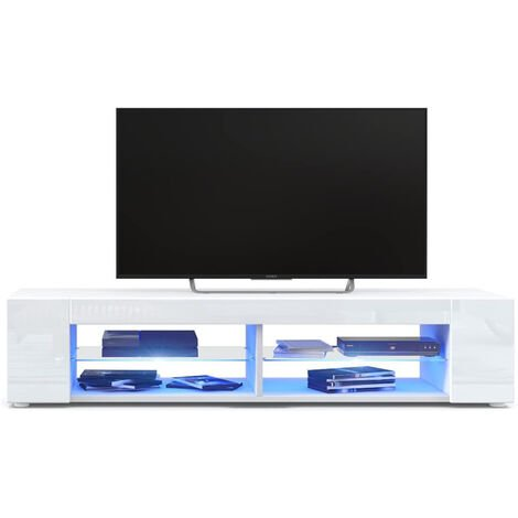 TV Cabinet Stand Unit w/ LED Light+4 Shelves Console High Gloss Furniture