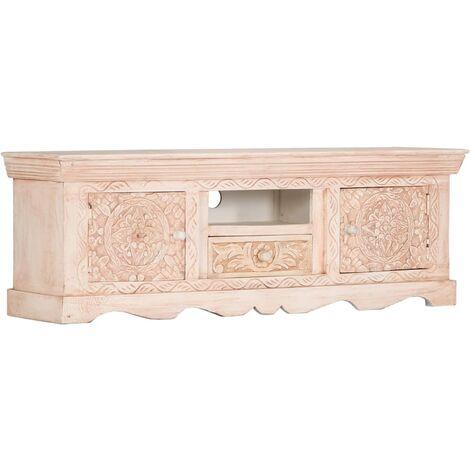 TV Cabinet White 120x30x40 cm Solid Mango Wood
