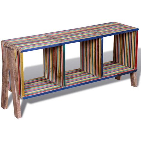TV Cabinet with 3 Shelves Stackable Reclaimed Teak Colourful - Multicolour