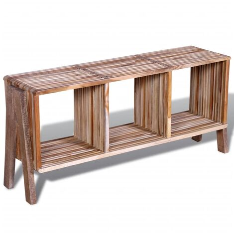TV Cabinet with 3 Shelves Stackable Reclaimed Teak - Multicolour