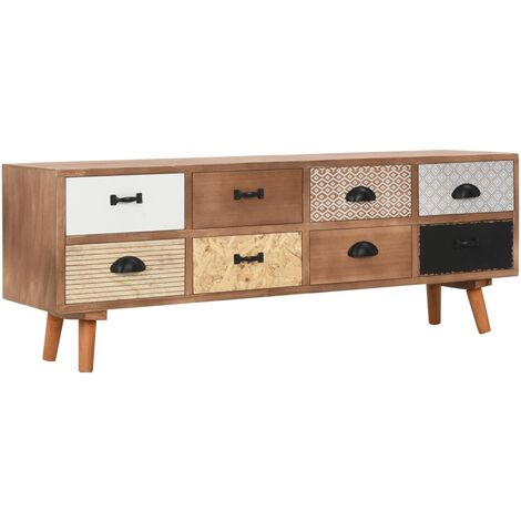 TV Cabinet with 8 Drawers 120x30x40 cm Solid Pinewood