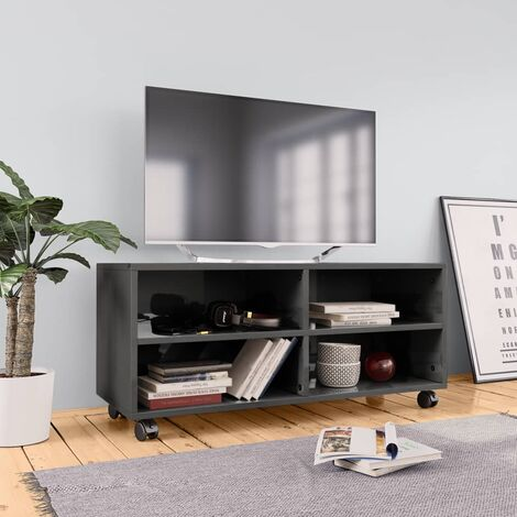 TV Cabinet with Castors High Gloss Grey 90x35x35 cm Chipboard