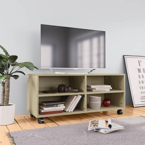 TV Cabinet with Castors Sonoma Oak 90x35x35 cm Chipboard