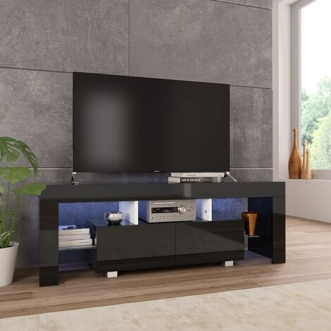 TV Cabinet with LED Lights High Gloss Black 130x35x45 cm