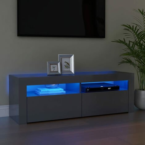 """main image of """"TV Cabinet with LED Lights High Gloss Grey 120x35x40 cm"""""""