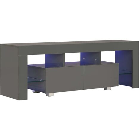 TV Cabinet with LED Lights High Gloss Grey 130x35x45 cm