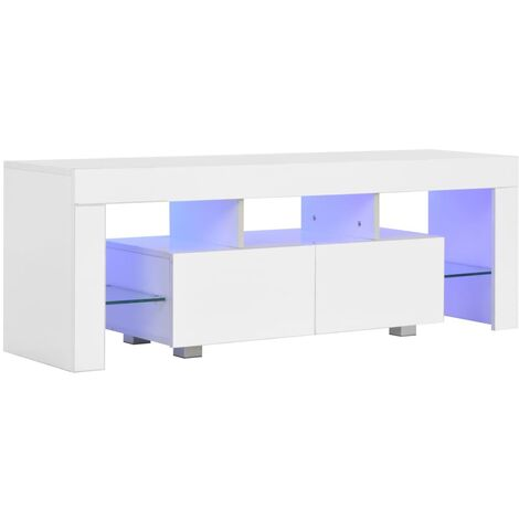 TV Cabinet with LED Lights High Gloss White 130x35x45 cm