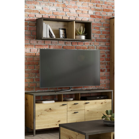 TV-Lowboard & Wandregal Set INDORE-10, Industrial Style, Artisan Eiche Nb./Stahl dunkel, B/H/T: ca. 143/65/40,5 cm