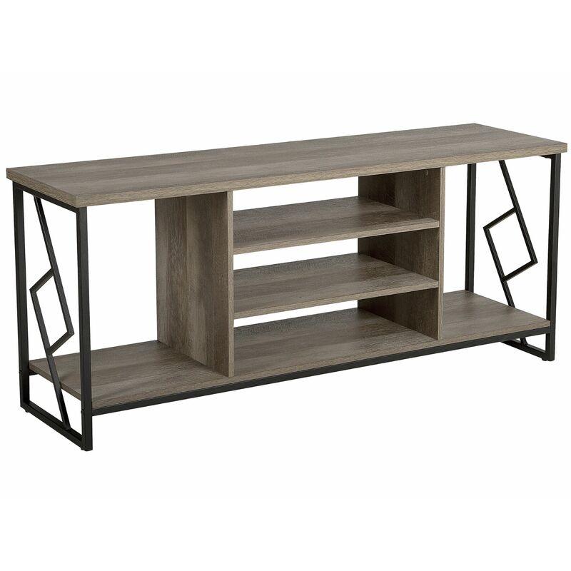 Beliani - TV Möbel Dunkler Holzfarbton Spanplatte Metall 60 x 140 x 40 cm Modern Holzoptik Elegant Praktisch Viel Stauraum Multifunktional Wohnzimmer