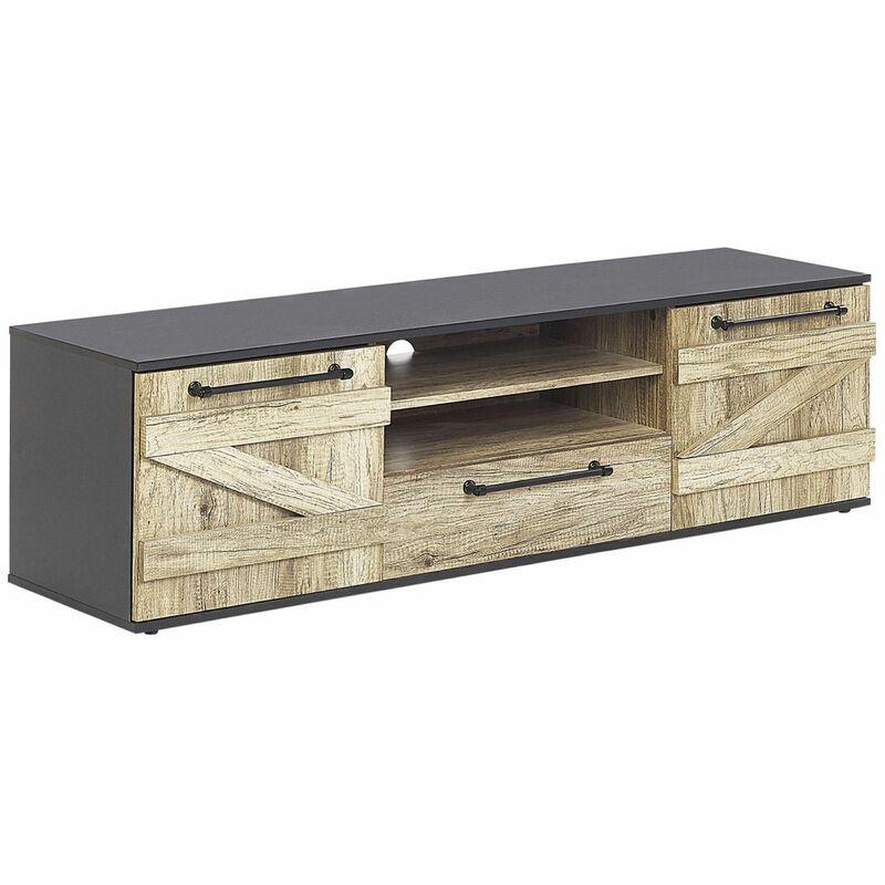 Beliani - TV-Möbel Lowboard Heller Holzfarbton/ Schwarz aus Holzspanplatte/ Metallgriffen mit Stauraum und 1 Schublade Wohnzimmer Modernes Design