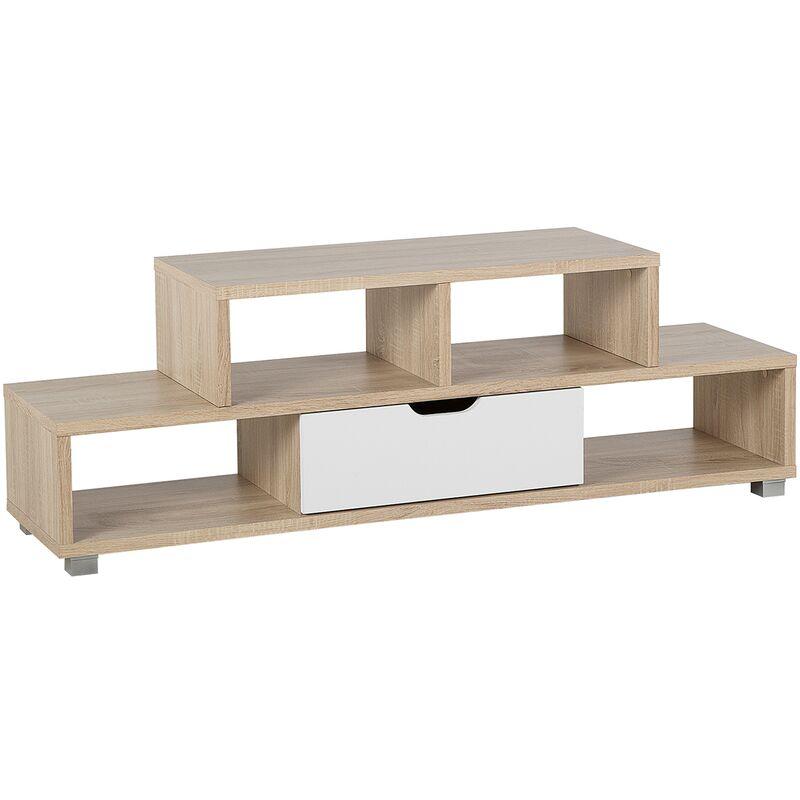 Beliani - TV Möbel Heller Holzfarbton Weiß MDF Platte Faserplatte 50 x 150 x 38 cm Modern Elegant Praktisch Schublade Multifunktional Wohnzimmer
