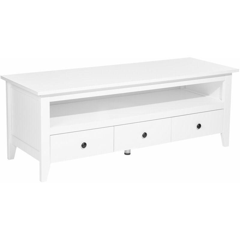 Kommode Weiß MDF Platte Holz 50 x 136 x 49 cm Rustikal Elegant Trendy Multifunktional 3 Schubladen 1 Fach Wohnzimmer