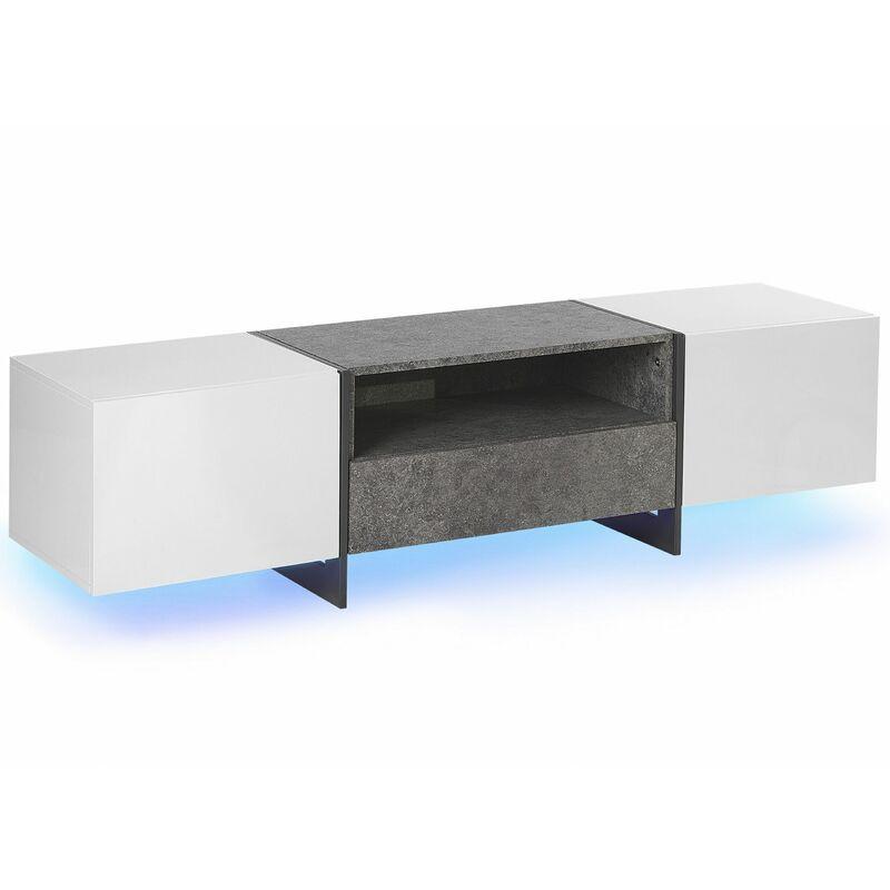 Beliani - TV-Möbel Weiß Betonoptik Grau mit LED-Beleuchtung Bunt 1 Schublade 2 Schränke Metallbeine Moderner Stil