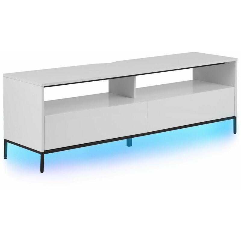 Beliani - TV Möbel Weiß Hochglanz Spanplatte Pulverbeschichtetes Metall 52 x 150 x 42 cm Elegant Stylisch LED Beleuchtung Funktional Viel Stauraum