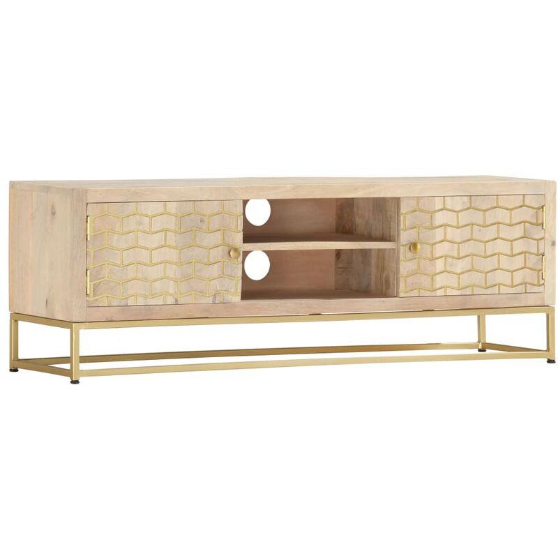 Zqyrlar - TV-Schrank Golden 120 x 30 x 40 cm Massivholz Mango