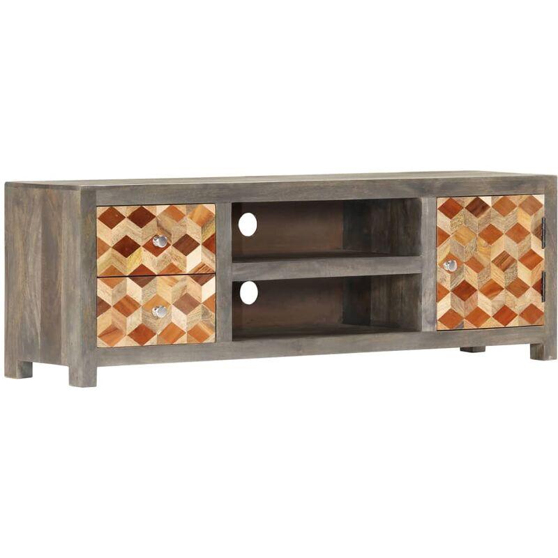 Zqyrlar - TV-Schrank Grau 120 x 30 x 40 cm Massivholz Mango