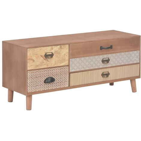 tv schrank mit 5 schubladen 90 x 30 x 40 cm massivholz. Black Bedroom Furniture Sets. Home Design Ideas