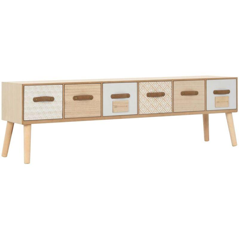 TV-Schrank mit 6 Schubladen 130×30×40 cm Massivholz Kiefer