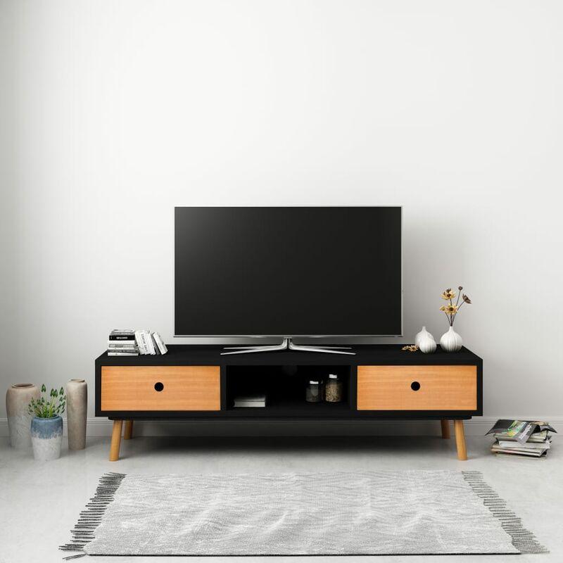 Zqyrlar - TV-Schrank Schwarz 120 x 35 x 35 cm Massivholz Kiefer
