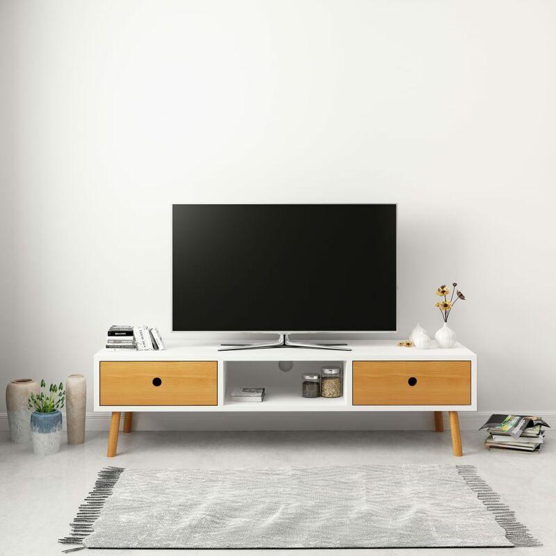 Zqyrlar - TV-Schrank Weiß 120 x 35 x 35 cm Massivholz Kiefer