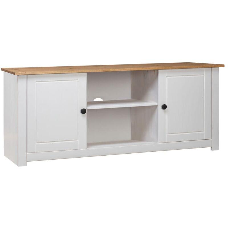 Zqyrlar - TV-Schrank Weiß 120 x 40 x 50 cm Massivholz Panama-Kiefer
