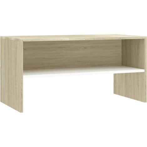 Tv Schrank Weiss Und Sonoma Eiche 80 X 40 X 40 Cm Spanplatte