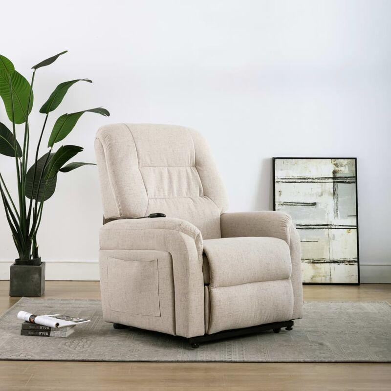 TV-Sessel mit Aufstehhilfe Elektrisch Creme Stoff - VIDAXL