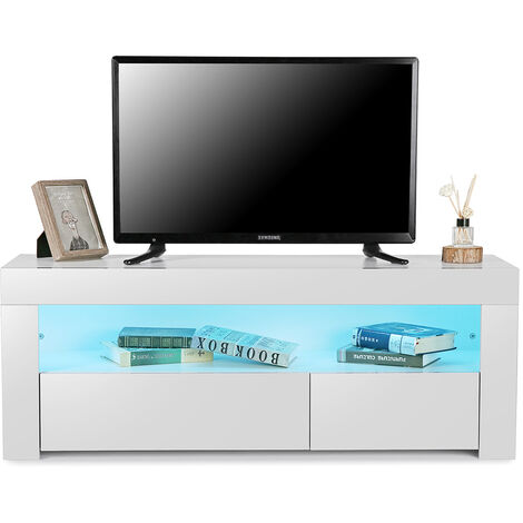 TV Stand Cabinet LED Light w/ Shelves and Drawers 120X35X45cm
