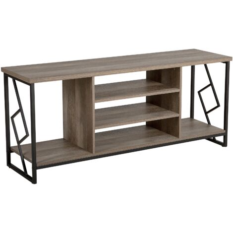 TV Stand Dark Wood and Black FORRES