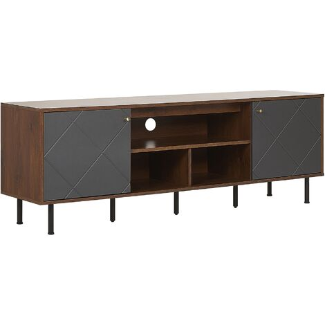 TV Stand Dark Wood and Black PORTLAND