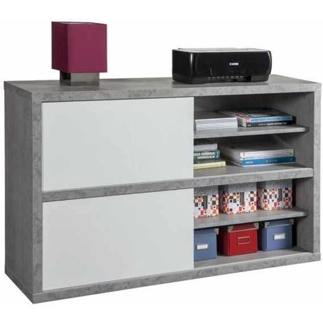 TV Stand Home Furniture Multi-purpose White Cement Effect Sliding Door