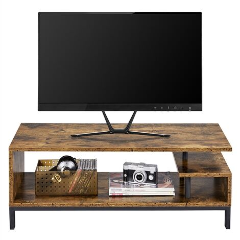 """main image of """"TV Stand, Industrial Style TV Table with Open Storage Shelf and Steel Frame, for Living Room, Entertainment Room, Hallway, Rustic Brown"""""""