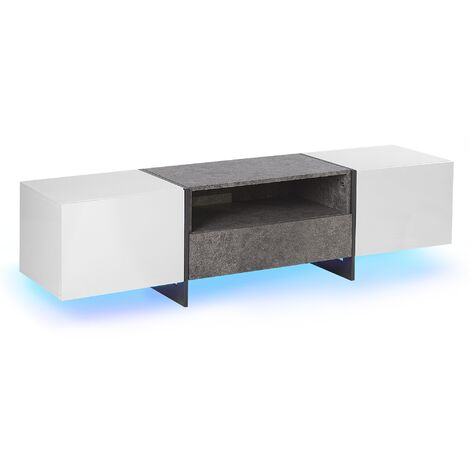 TV Stand LED Concrete Effect with White RUSSEL